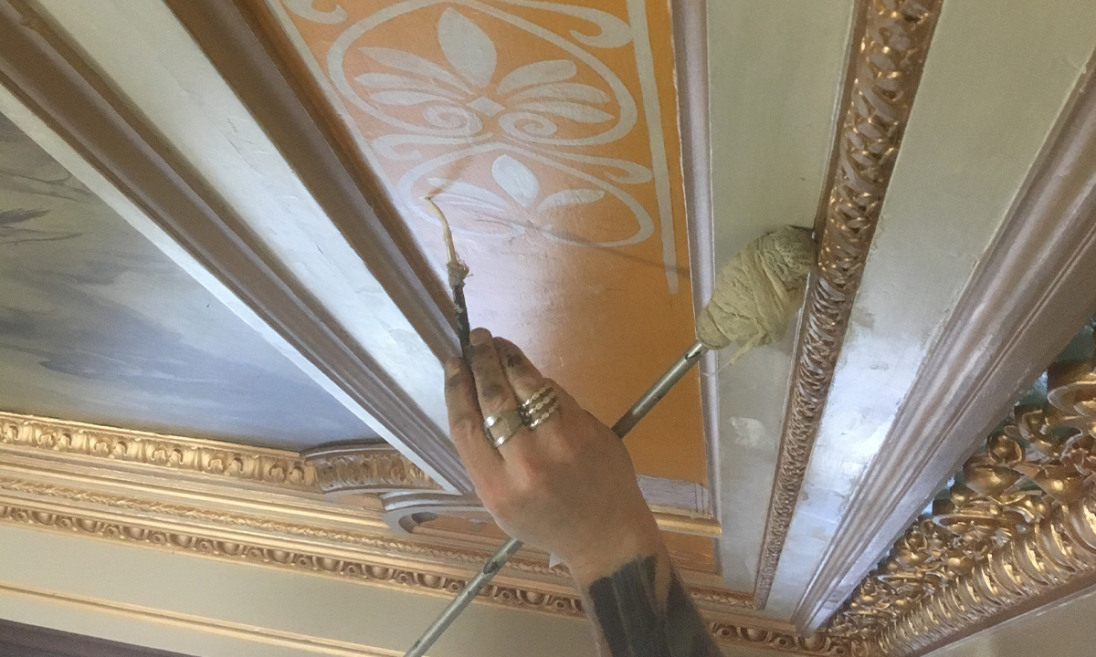 Touched up paintwork on ceiling