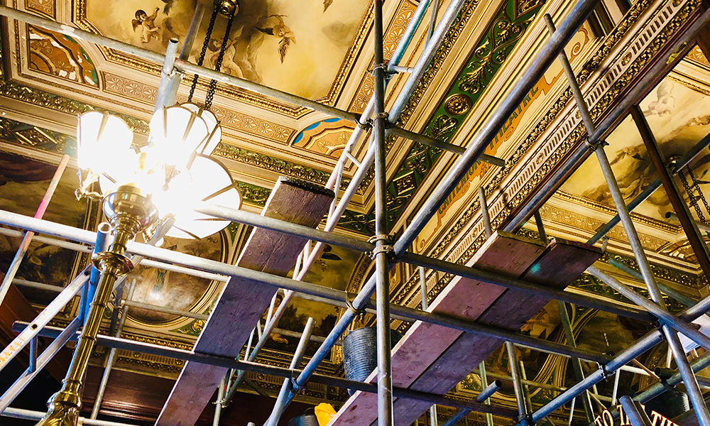 Scaffolding up to the ceiling