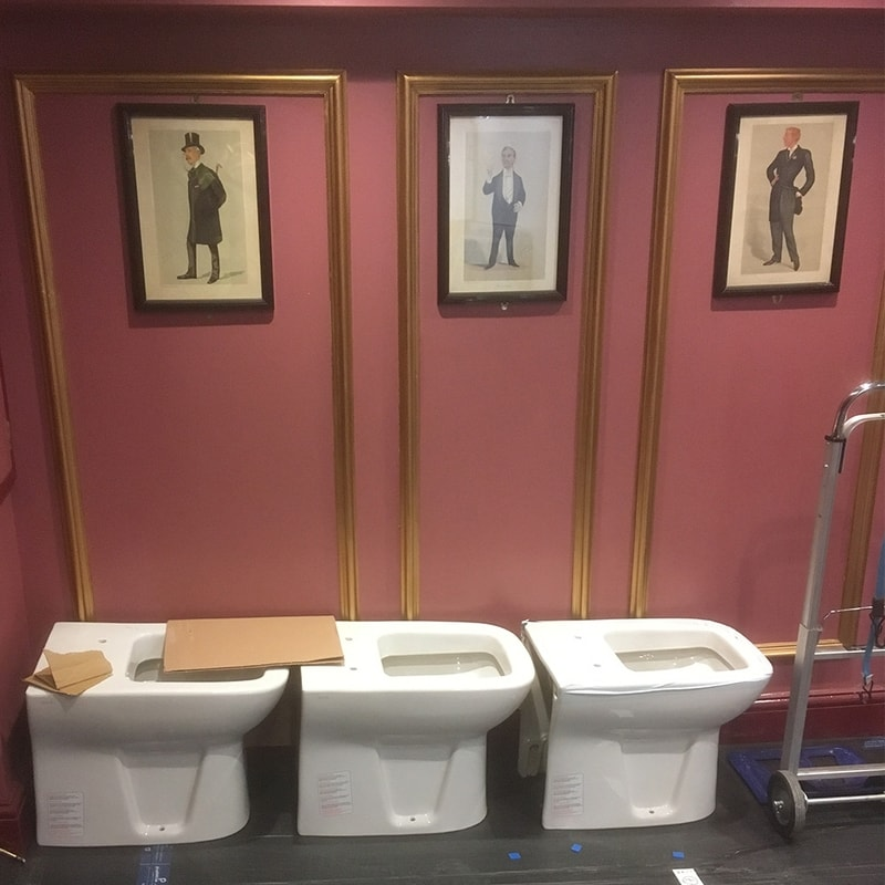 Toilets waiting to be installed