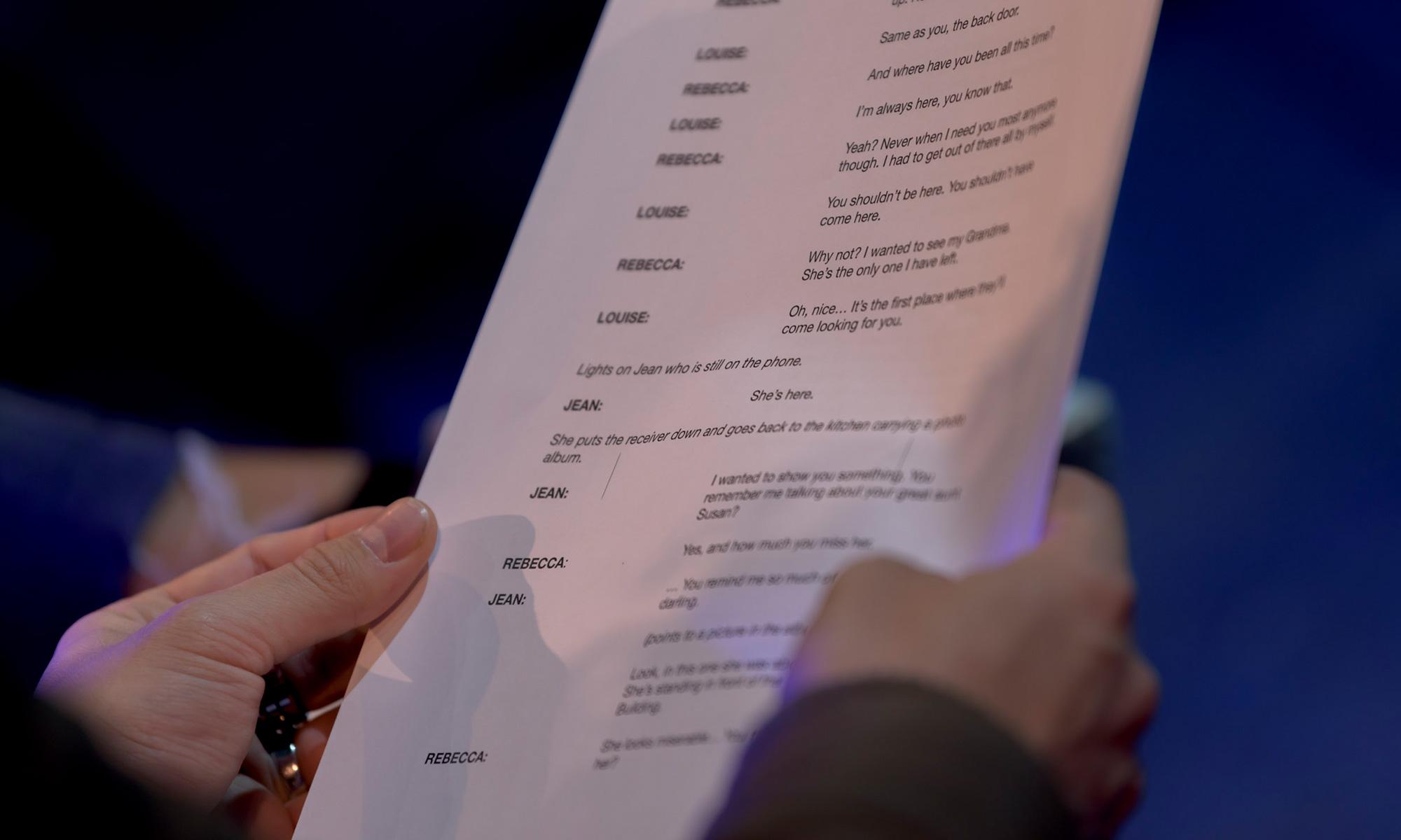 Actor holding script