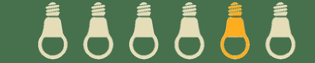 Illustration of 6 lightbulbs with 1 lit